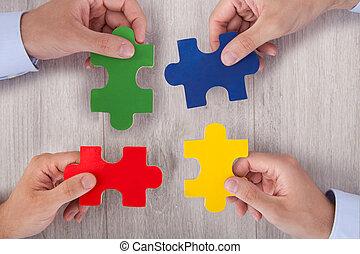 puzzel, businesspeople, stücke, buero, mehrfarbig, beitritt