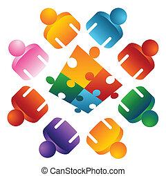 Puzzle löst Teammenschen