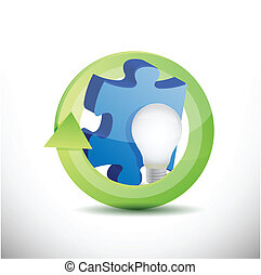 Puzzlestück und leuchtende Illustration