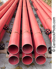 pvc, leitungsrohre, rotes
