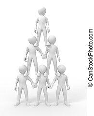 Pyramide von Menschen. Führung