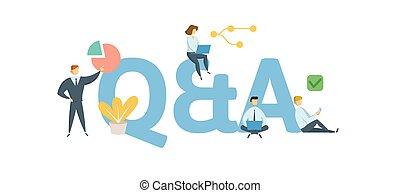 Q und A, Fragen und Antworten. Konzept mit Menschen, Buchstaben und Ikonen. Flat Vektorgrafik. Auf weißem Hintergrund.
