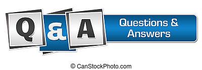 Q und eine blaue, graue, quadratische Bar.