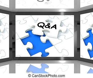 Q&A auf dem Bildschirm zeigt Fernsehführer.
