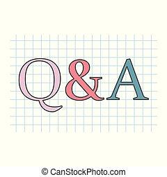 Q&A (Fragen und Antworten) auf karierte Papierblätter geschrieben.