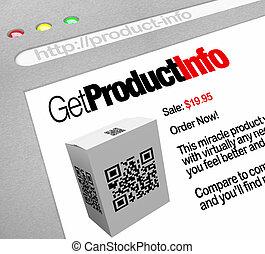 QR Code - Web-Bildschirm Website von Produktinformationen.