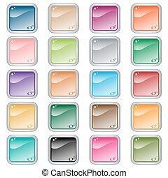 Quadrate Netzknöpfe mit 20 in verschiedenen Farben