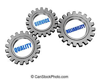Qualität, Service, Zuverlässigkeit in Silbergrauen