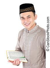 quran, moslem, junger, besitz, mann