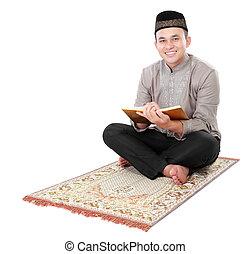 quran, moslem, lesende , besitz, mann