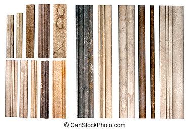 ränder, stein, freigestellt, dekorativ, marmor