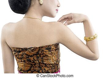 rückseite, java, asiatisch, traditionelle , tanz, frau, ansicht, kostüm