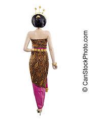 rückseite, tanz, java, asiatische frau, stehende , ansicht, national kost�m