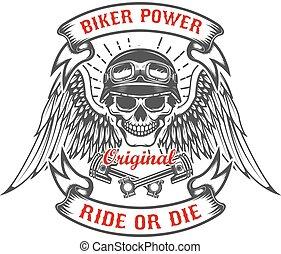 Racerschädel mit Flügeln und zwei gekreuzten Kolben. Biker Power. Rid