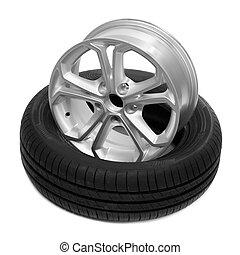 Rad und Reifen für ein Auto