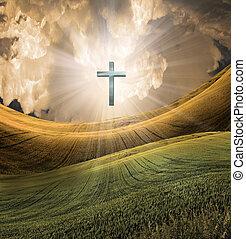 radiates, himmelsgewölbe, kreuz, licht