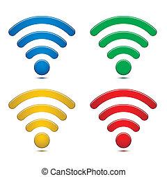 radio, symbole, satz, vernetzung