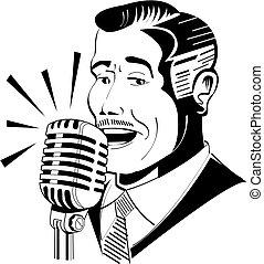 Radiosprecher an Mikrofon.