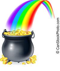 rainb, topf, gold, ende