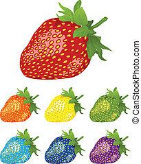 rainbow., verschieden, beeren, strawberry., farben