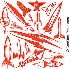 rakete, sammlung, rotes