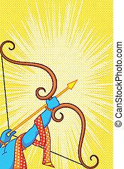 Rama mit Bogen und Pfeil in Happy dussehra bieten Plakate.