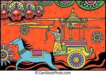 Rama tötet Ravana für Dussehra.