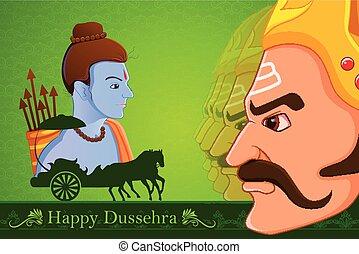Rama tötet ravana in Happy dussehra.