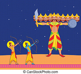 Rama tötet Ravana während dussehra.