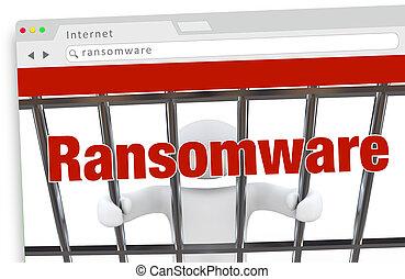 Ransomware Computervirus Hacking Internet Verbrechen Website 3d Illustration.