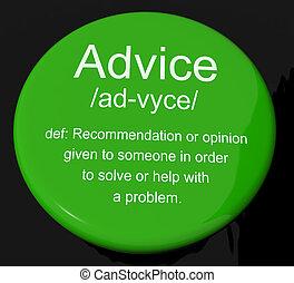 Ratgeber-Definitions-Knopf mit Empfehlungshilfe und Unterstützung