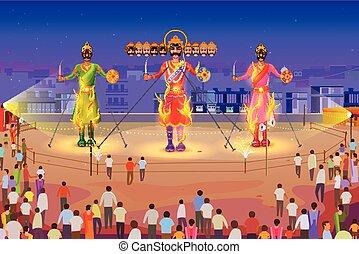 Ravana brennt in Dussehra.