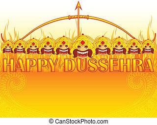 Ravana brennt in Happy dussehra.