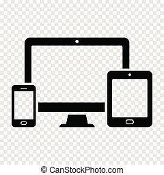 Reaktionsdesign für Web - Computer-Bildschirm, Smartphone, Tablet Icon
