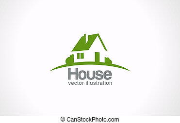 real estate, haus, abstrakt, countryside., immobilien, logo, icon.