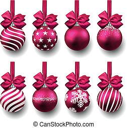 realistisch, fuchsin, satz, weihnachten, balls.