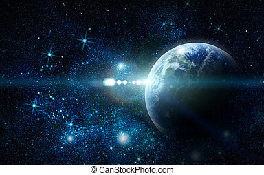 Realistischer Planet Erde im Weltraum