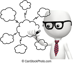 rechnen, ihm, klug, programmierer, zeichnung, wolke, plan