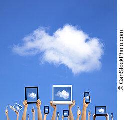 rechnen, wolke, halten hände, klug, tablette, berühren, concept., telefon, edv, laptop, polster