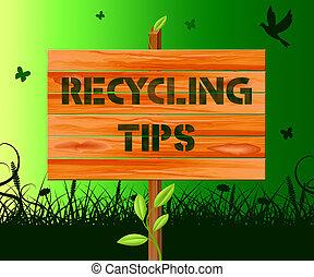 Recyclingtipps bedeuten Recyclingberatung 3d Illustration.