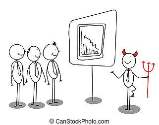 Red Devil Businessman Präsentation.