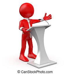 Red Man spricht auf einer Konferenz