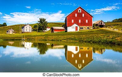 reflexion, haus, pennsylvania., york, grafschaft, klein, ländlich, teich, scheune