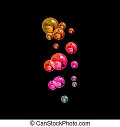 regenbogen, isoalted, blasen, bubbles., licht, realistisch, bereiche, hintergrund, dunkel, neon, schwarz, vektor, hintergrund, seife, abstrakt