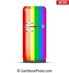 regenbogen, klassisch, kühlschrank, freigestellt, vektor, refrigerator., hintergrund, weißes