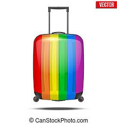regenbogen, klassisch, reise, gepäck, plastik, koffer, luft, oder, straße