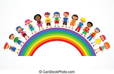 Regenbogen mit Kindern, bunte Vektor-Illustration