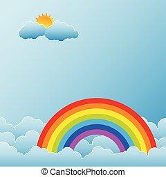 Regenbogen mit Sonne und Wolken.