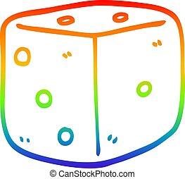 regenbogen, spielwürfel, klassisch, steigung, zeichnung, linie, karikatur