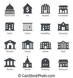 Regierungsgebäude Symbole.